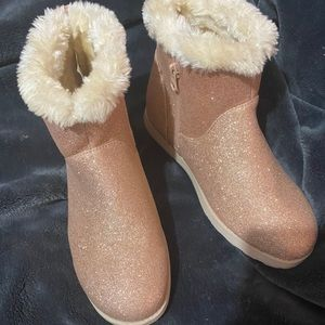 Pink sparkly glitter boots